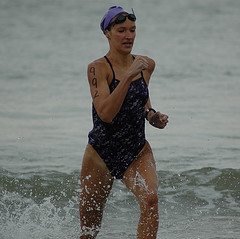 Me at an open-water swim last August. My times this week suggest I was faster then. Ugh.