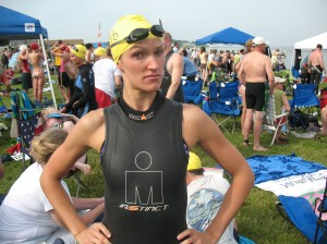Me before last year's 1-mile Bay Bridge Swim, attemting faux-toughness.