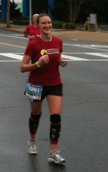 I was hurtin' toward the end of the race. But I was still smiling, and my homemade Grinch legwarmers still rocked!